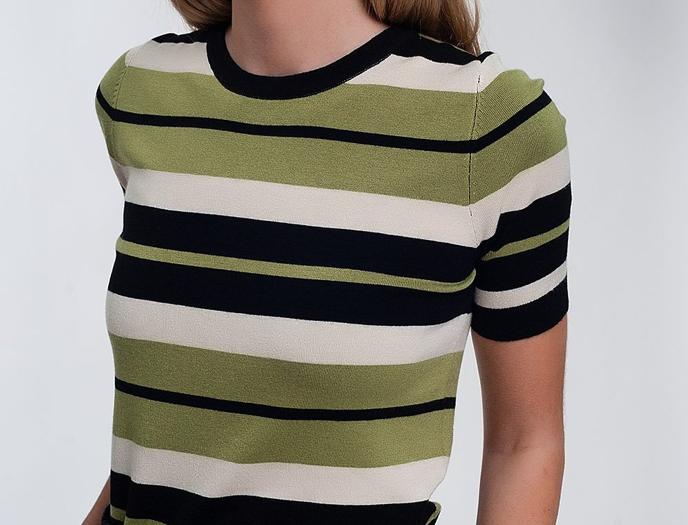 Crew Neck Boxy Jumper With Multi Stripes in Green