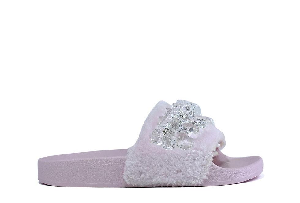 Crystal Beads Fur Slider Pink