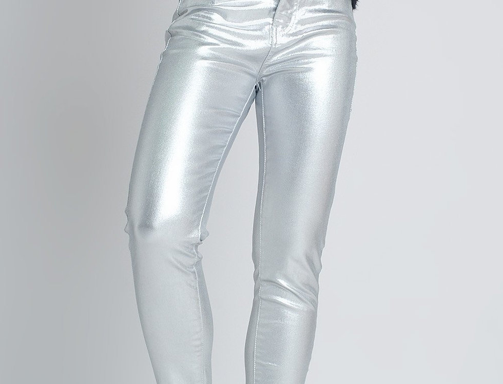 Skinny Pants in Silver Metallic