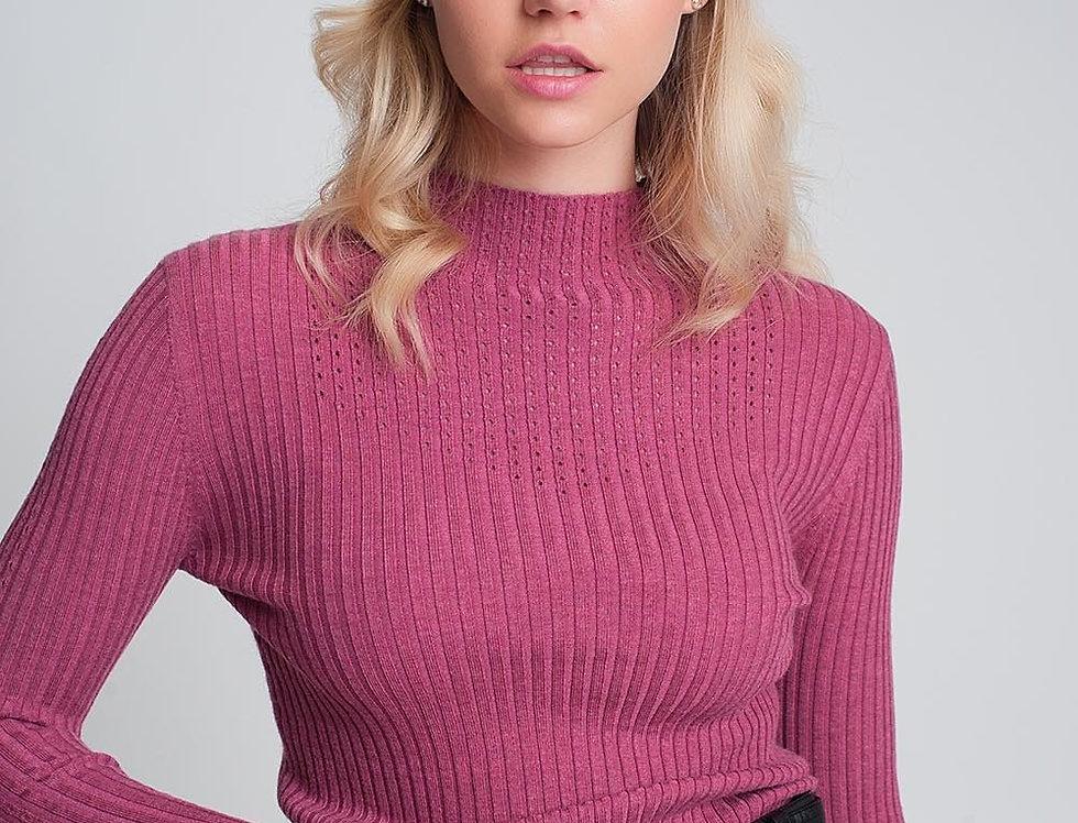 Fine Gauge High Neck Sweater in Fuchsia