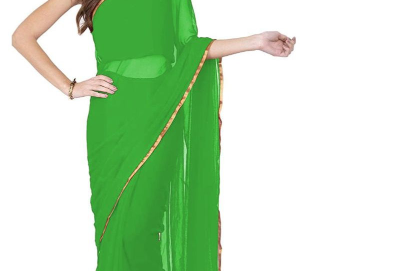 Women's Chiffon Saree (Green, 5-6 Mtrs)