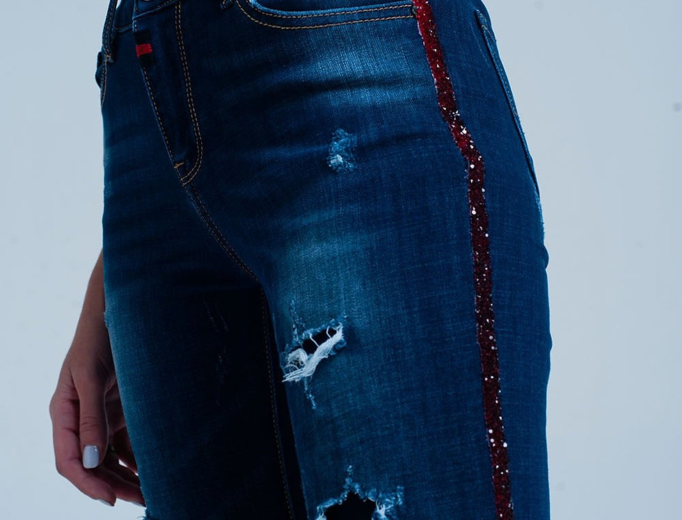Dark Ripped Jeans With Red Strass Side Stripe