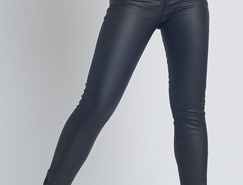 Black Leather Effect Trousers With Hem Lace-Up