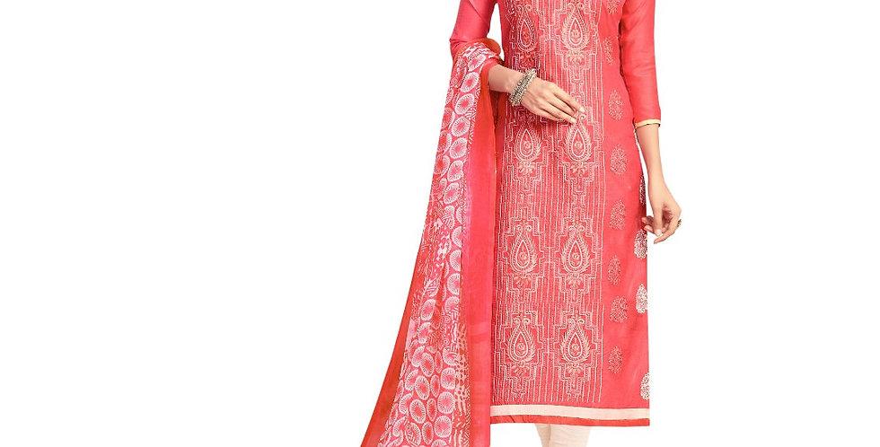 Chanderi Fabric Peach Color Dress Material