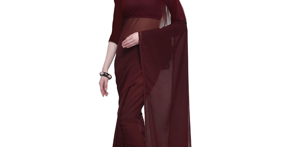 Women's Dyed Saree(Brown,5-6 Mtrs)