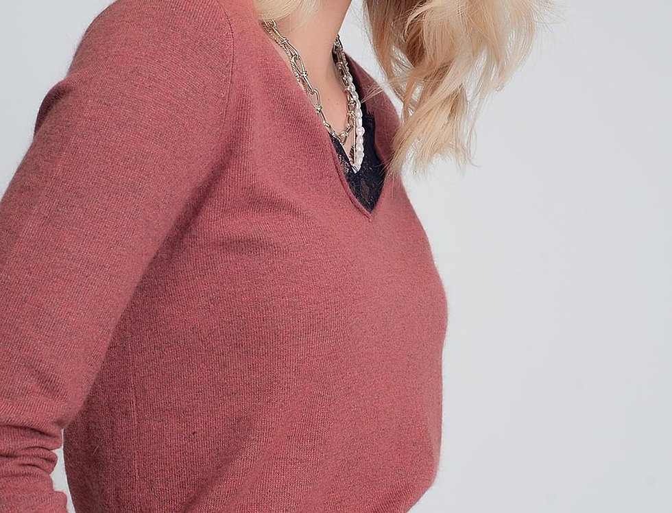 Soft Sweater With Lace Detail and V-Neck in Maroon Color