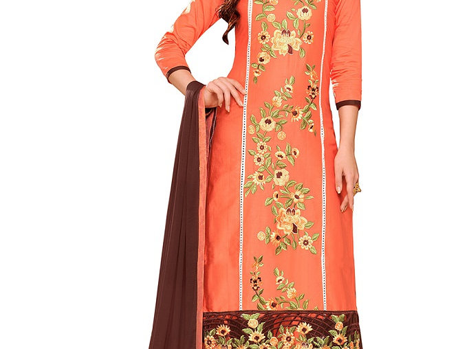 Orange Brown Glaze Cotton Embroidered Party Wear Dress Material