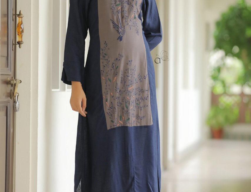 Rayon Kurti with Heavy Embroidery