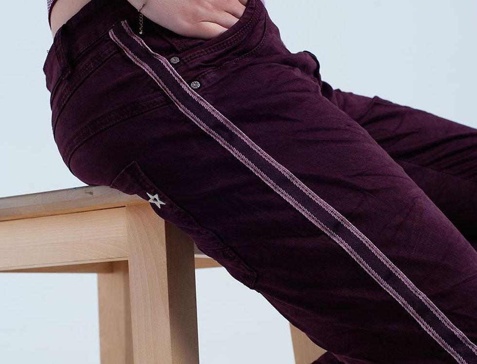 Boyfriend Burgundy Jeans With Side Band