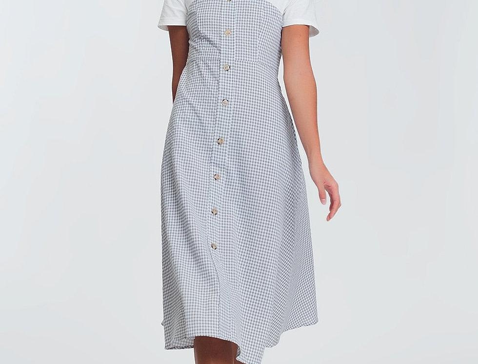 Button Through Midi Dress in Cream Check
