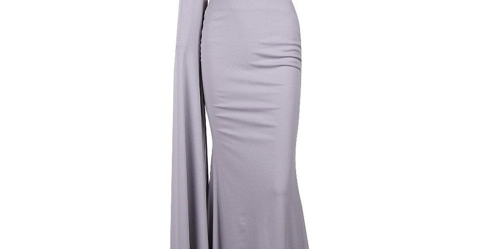 Grey One Shoulder Evening Dress