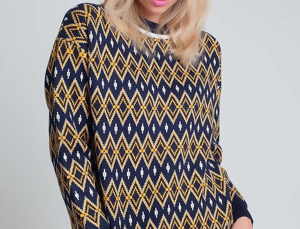 Diamond Design Sweater in Navy Multicolour