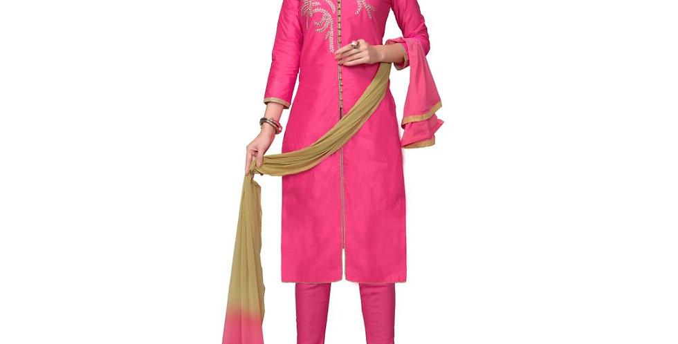 Glaze Cotton Fabric Pink Color Dress Material