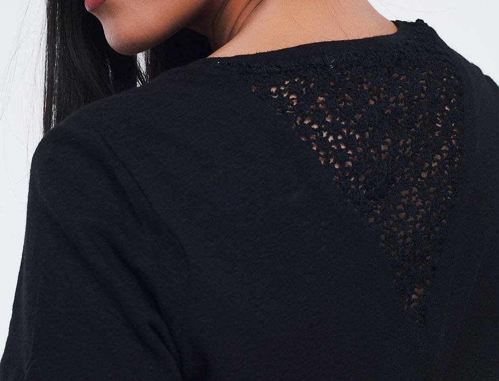 Black T-Shirt With Crochet Details on the Back