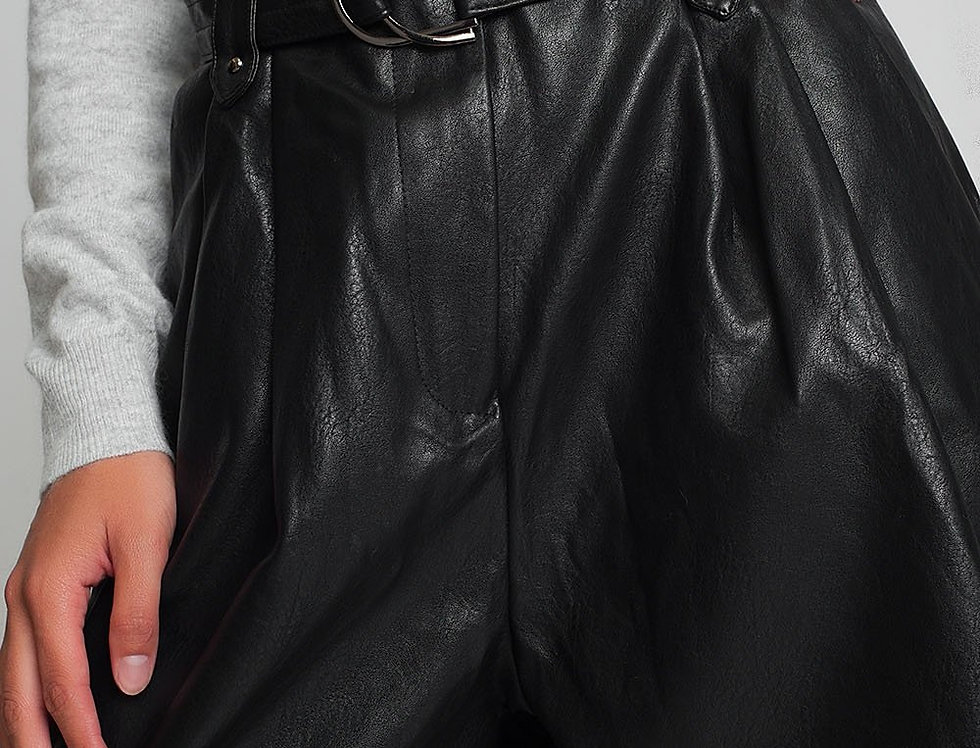 Belted Faux Leather Shorts in Black
