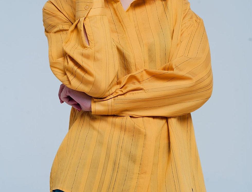 Mustard Shirt Thin Black Stripes