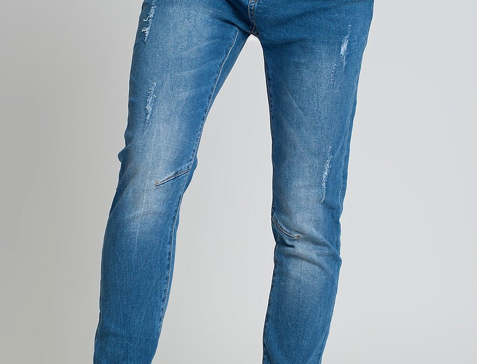 Distressed Boyfriend Jeans  Blue Denim