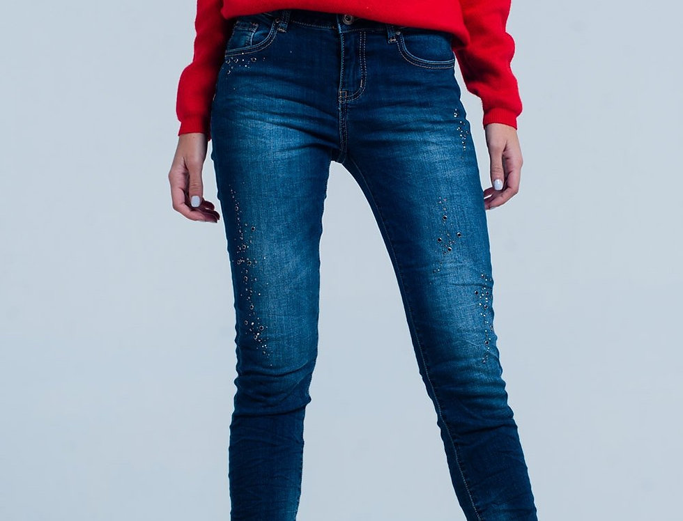 Dark Jeans Wrinkled and Rhinestones