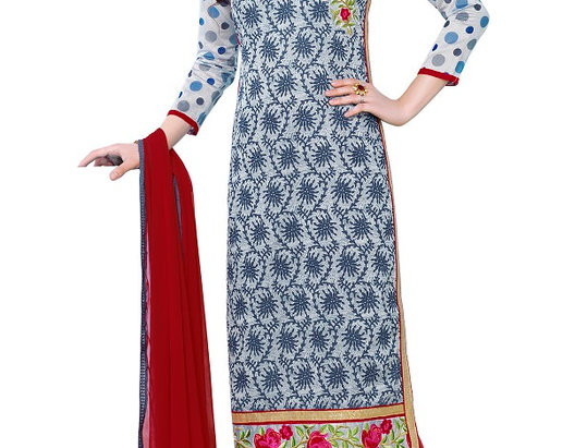 Grey Cotton Embroidered Party Wear Salwar Suit Material