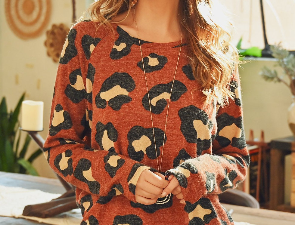 Mirr Hair Leopard Print Long Sleeved Top