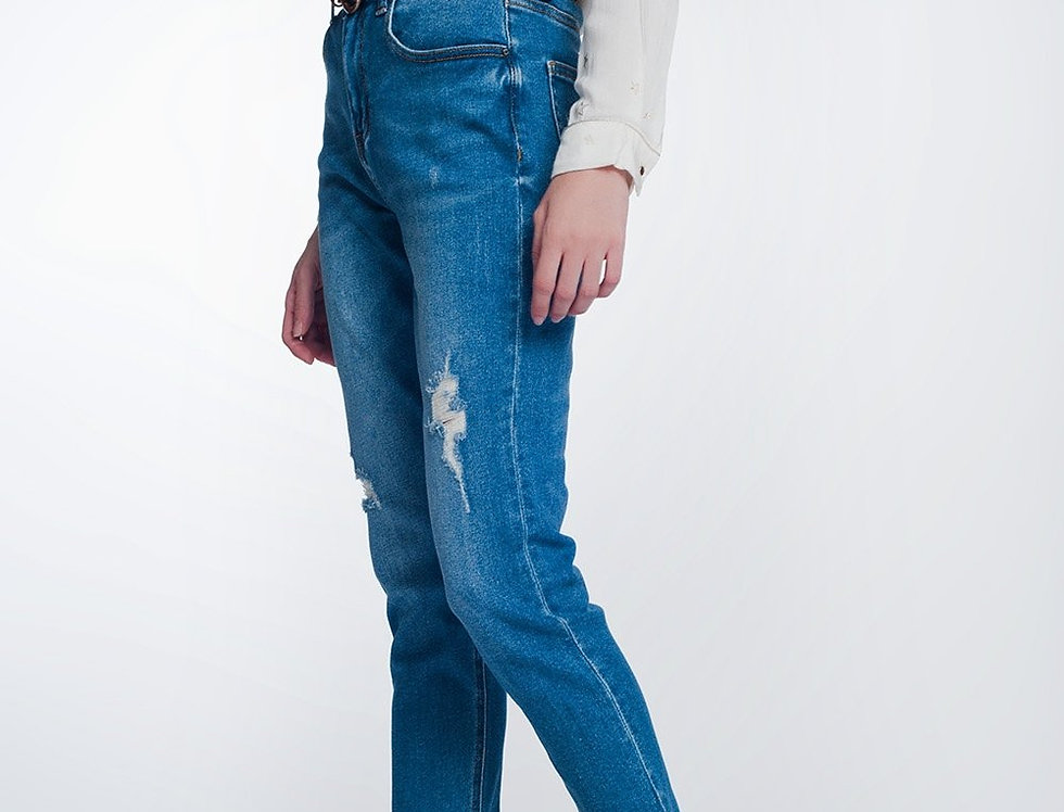 Straight Fit Jeans With Knee Rip in Mid Blue
