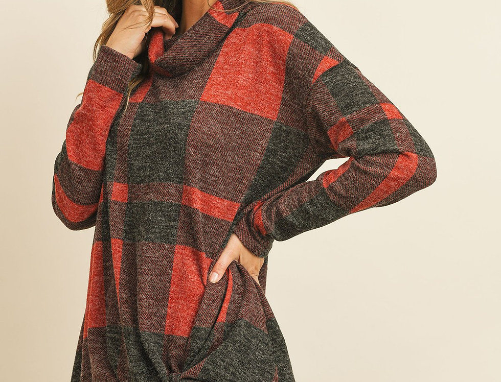 Plaid Checker Print Cowl Neck Front Knotted Mier Hair Top