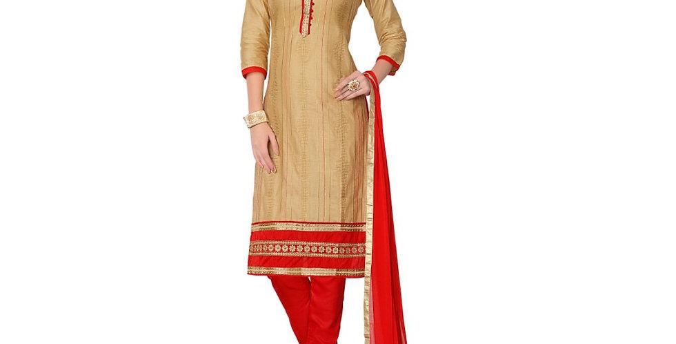 Glaze Cotton Fabric Beige Color Dress Material