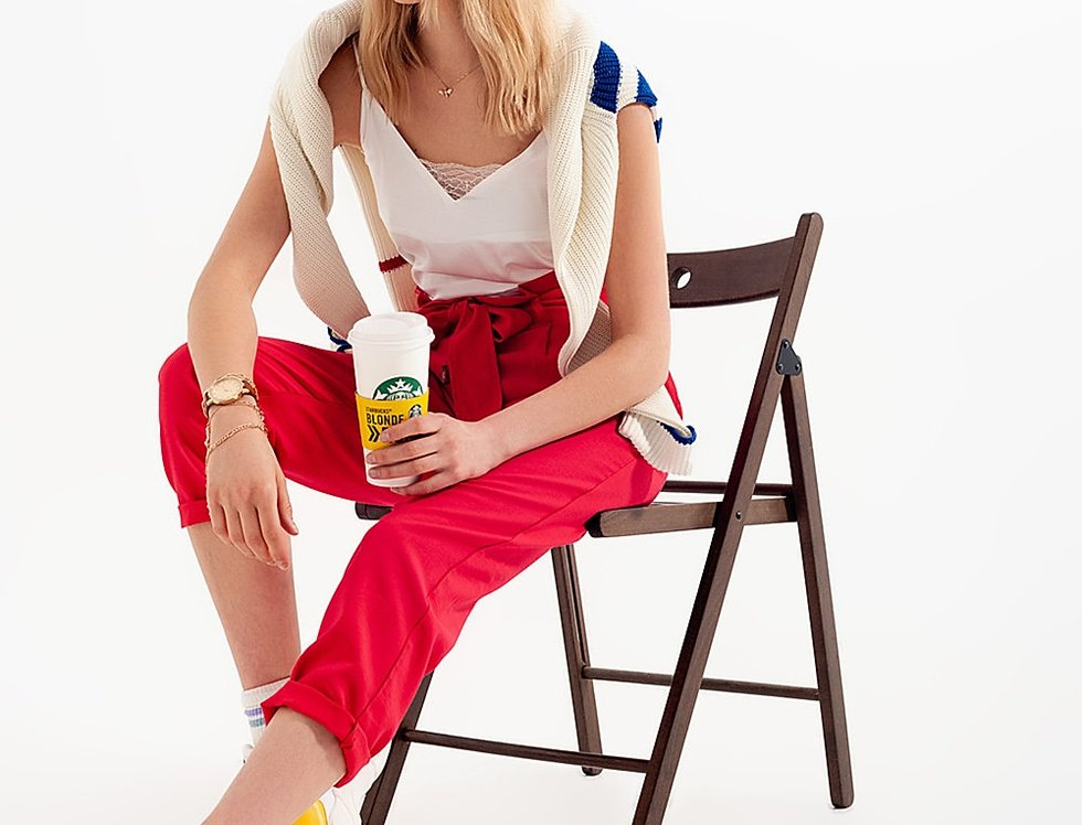 High Waist Belted Paperbag Trousers in Red