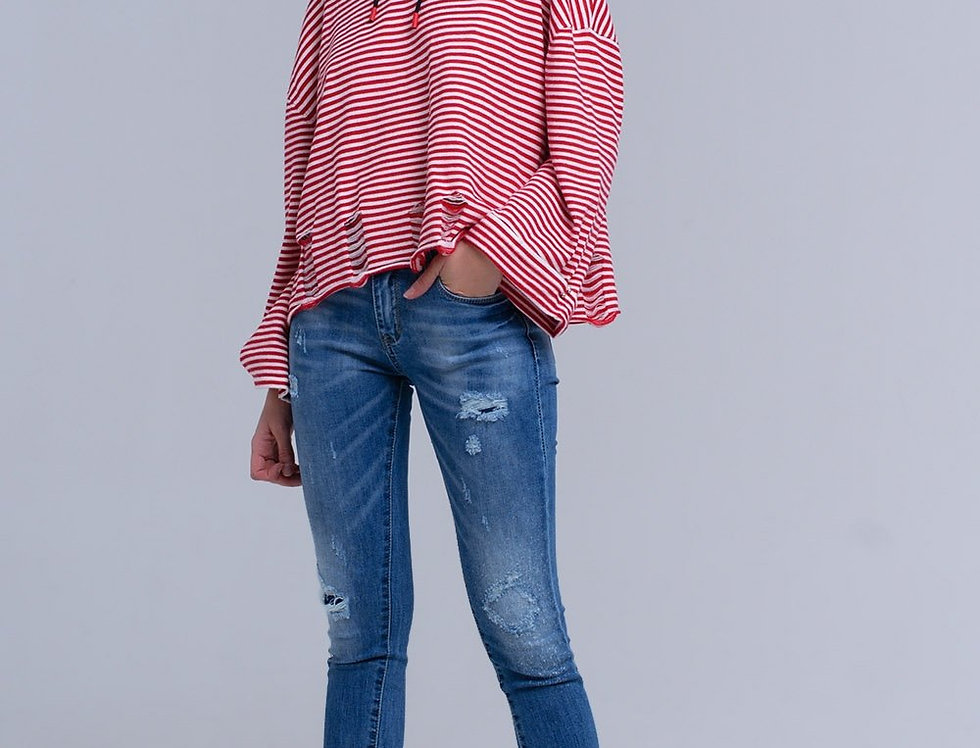 Distressed Skinny Jeans With Fringes