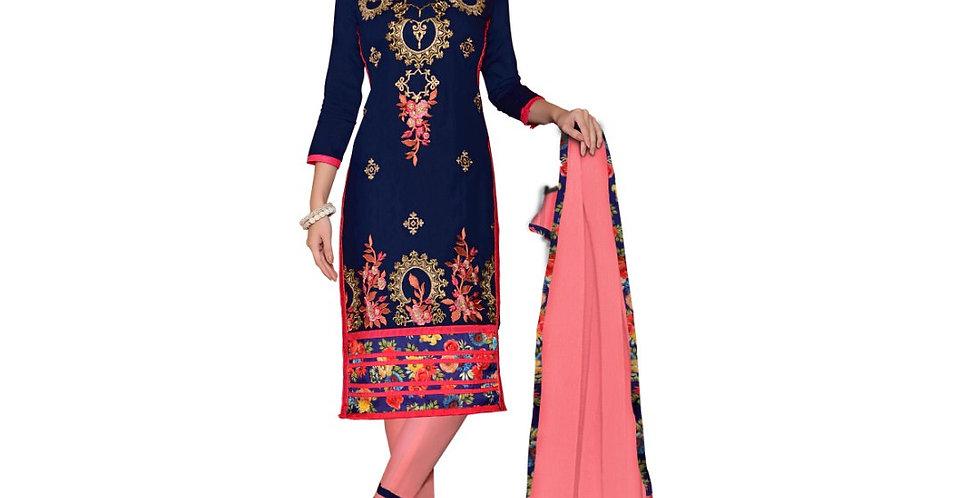 Glaze Cotton Fabric Nvay Blue Color Dress Material