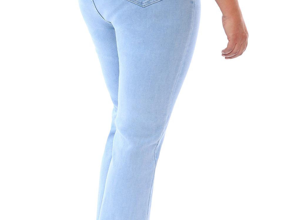 360 Stretch High Rise Straight (Slight Boot Cut) Denim Jeans in Sky Bleach Blue