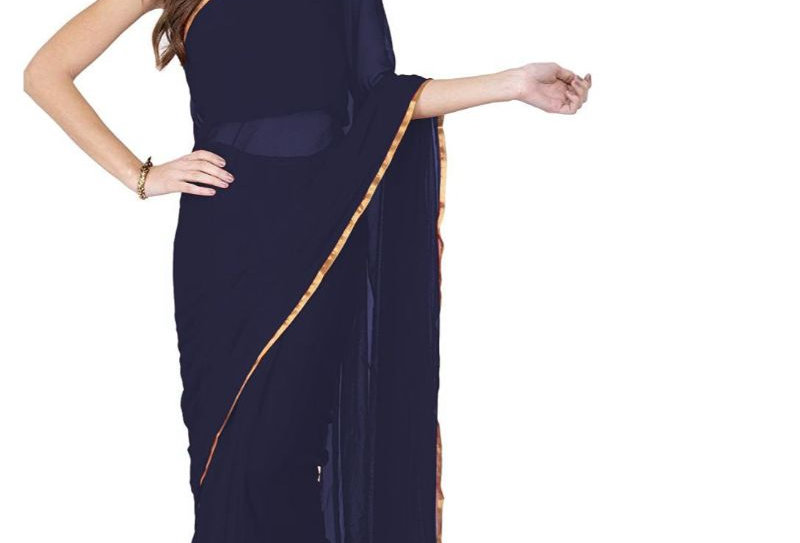 Women's Chiffon Saree (Navy Blue, 5-6 Mtrs)