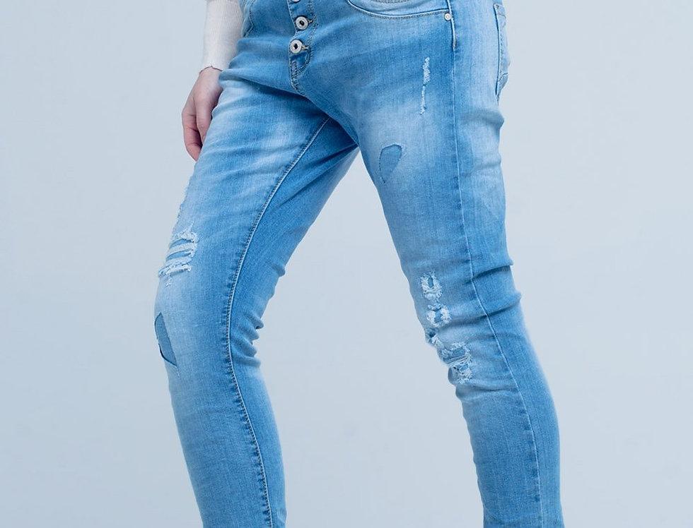 Blue Slashed Boyfriend Jeans