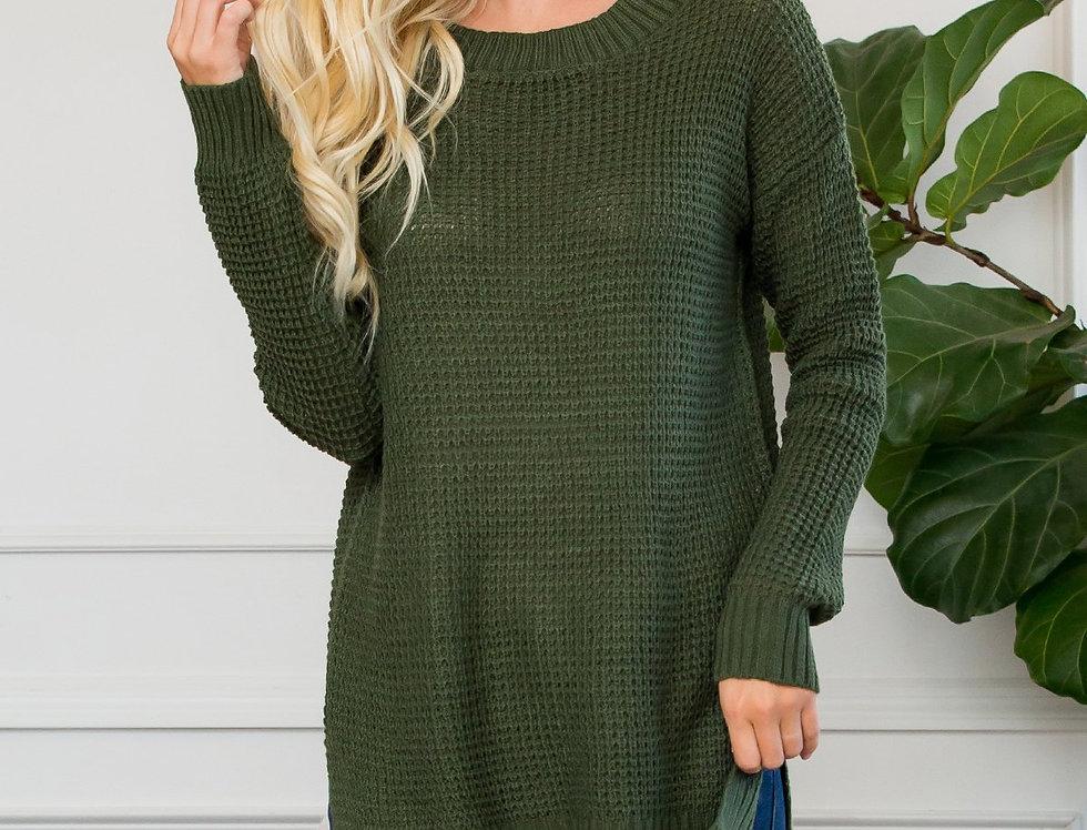 Long Sleeve Round Neck Waffle Sweater Side Slit