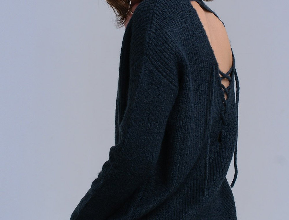 Green Knitted Sweater With Tie-Back Closure