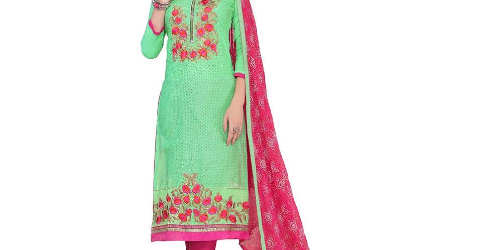 Glaze Cotton Fabric Green  Color Dress Material