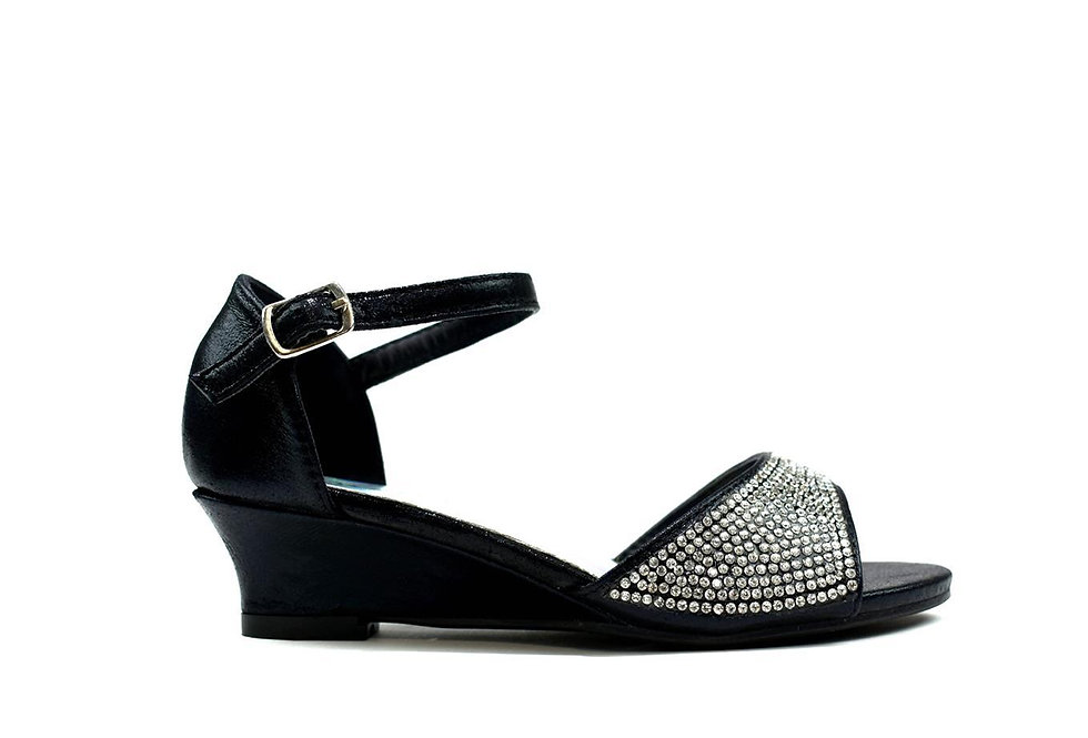 Amna Girl's Open Toe Wedge Sandal Black