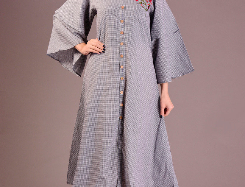 Cotton Printed Long Kurti With front Embroidery with Buttons