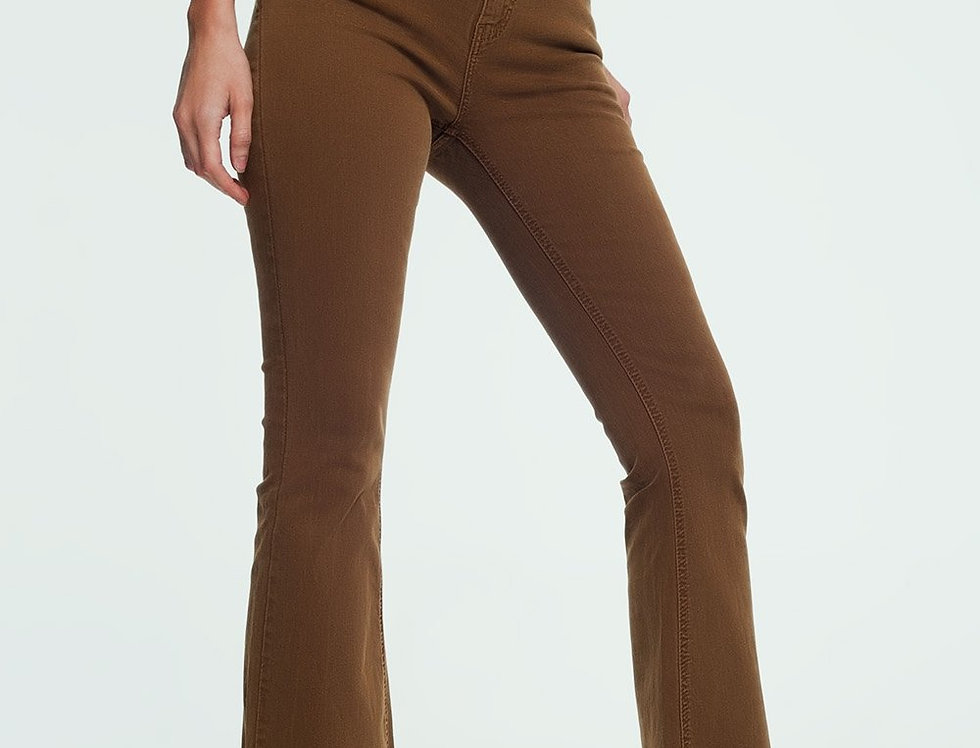 High Rise Raw Hem Flared Jeans in Brown