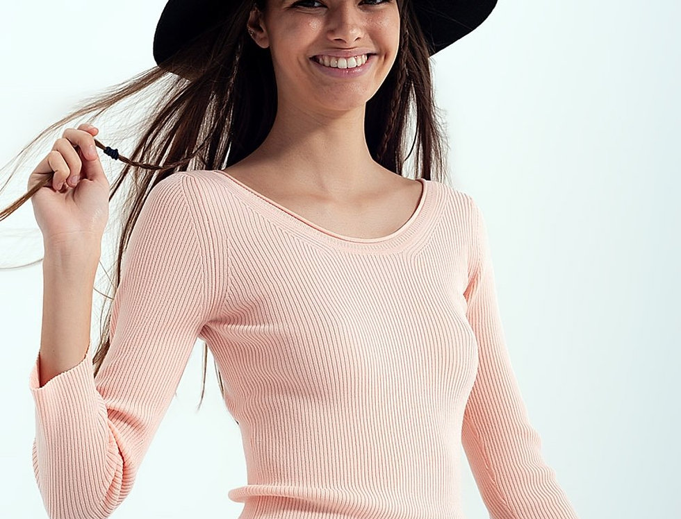 Pink Knitted Wide Neck Sweater