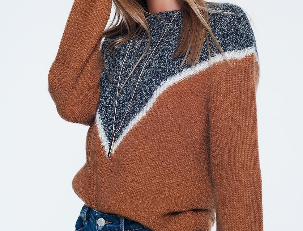 Chevron Color Block Sweater in Camel