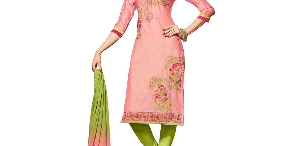 Glaze Cotton Fabric Peach Color Dress Material