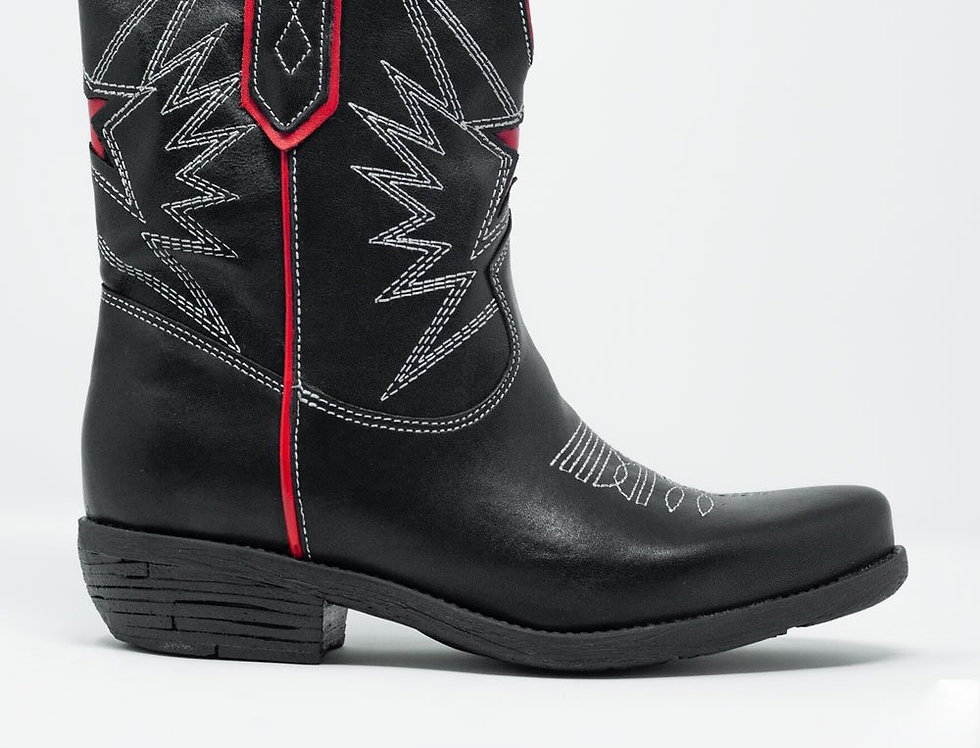 Black Western Knee Boots With Red Detail