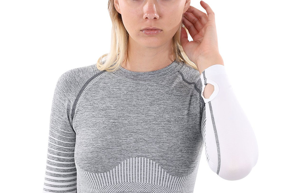 Bocana Seamless Sports Top - Grey & White
