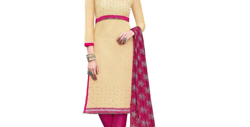 Chanderi Cotton Fabric Beige Color Dress Material
