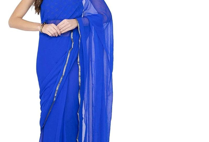 Women's Chiffon Saree (Royal Blue, 5-6 Mtrs)