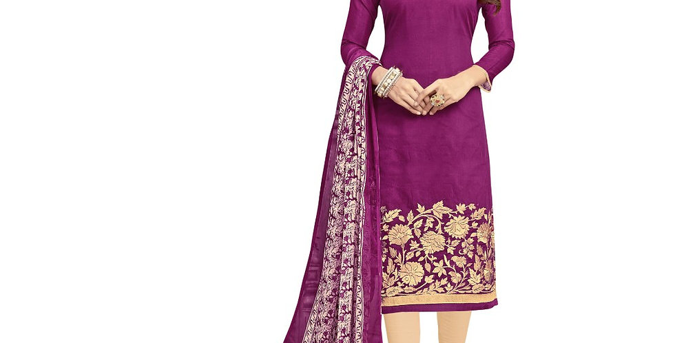 Chanderi Fabric Wine Color Dress Material