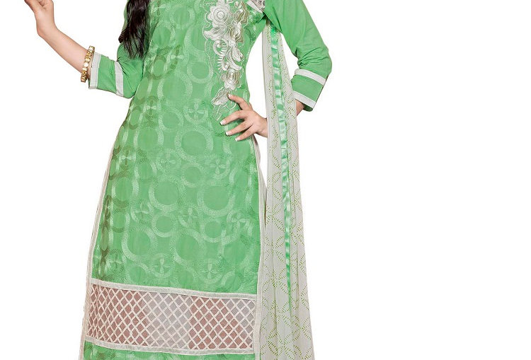 Green Embroidered Cotton Salwar Suit Dress Material(MDMST05)