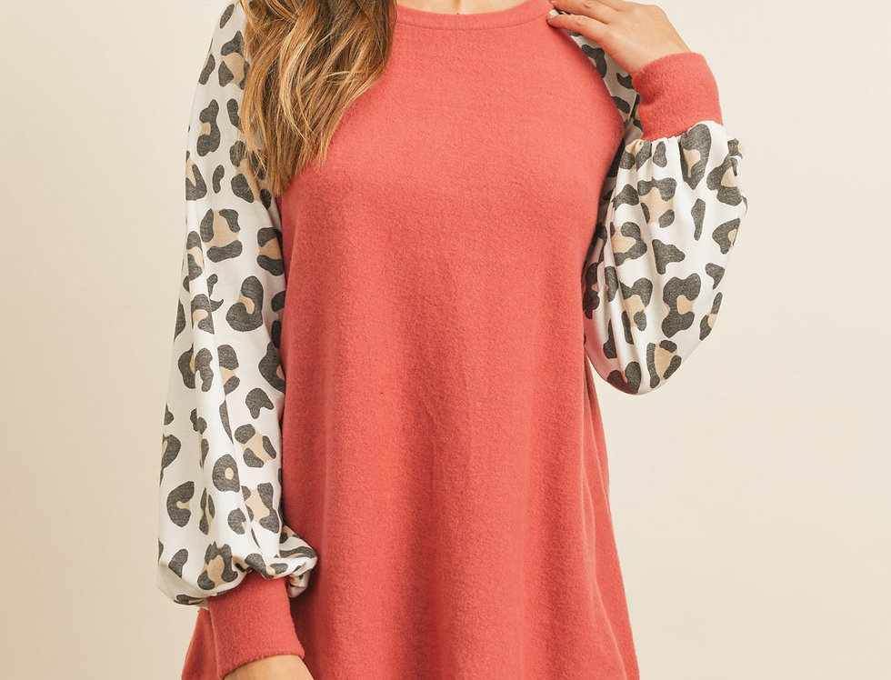 Leopard Puff Sleeved Solid Hacci Top
