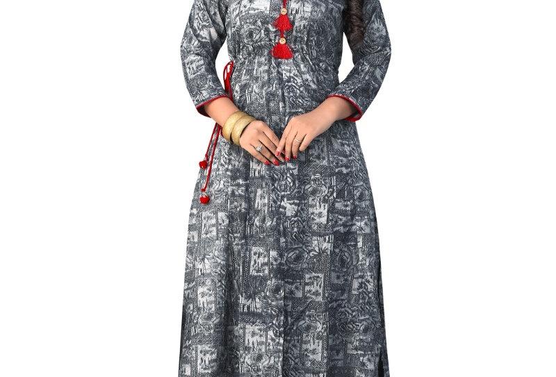Generic Women's Rayon Print Kurti (Gray)